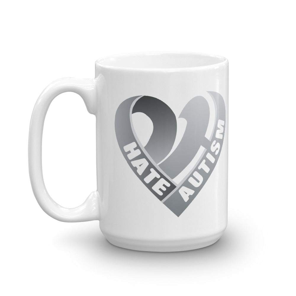 Positive Hate, Hate Autism Grey Heart Side - Mugs