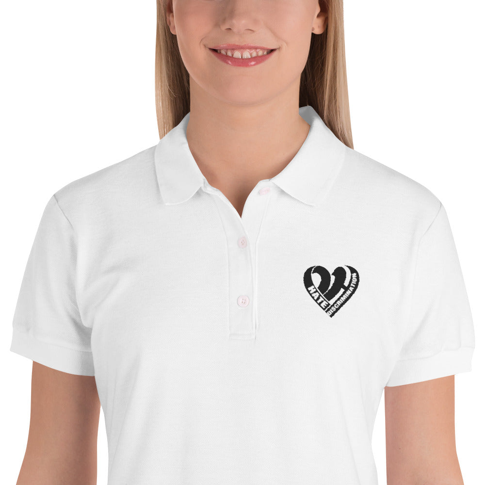 Positive Hate, Hate Discrimination Black Heart -  Women's Polo Shirt