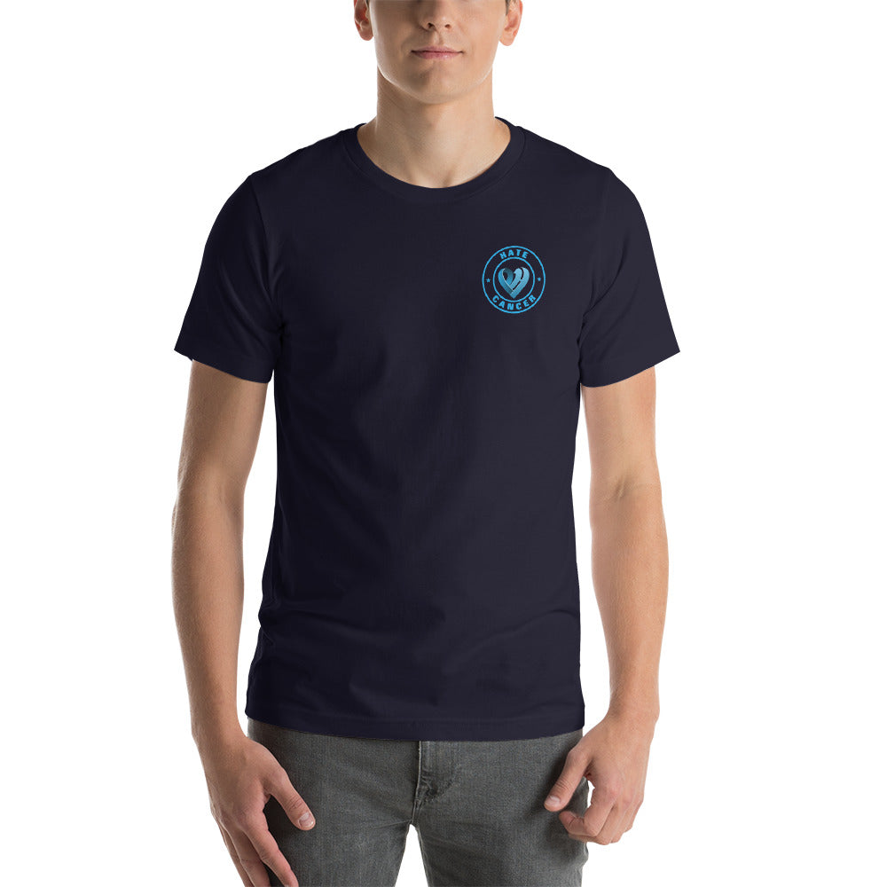 Positive Hate, Hate Cancer Blue Round Side - T-shirt