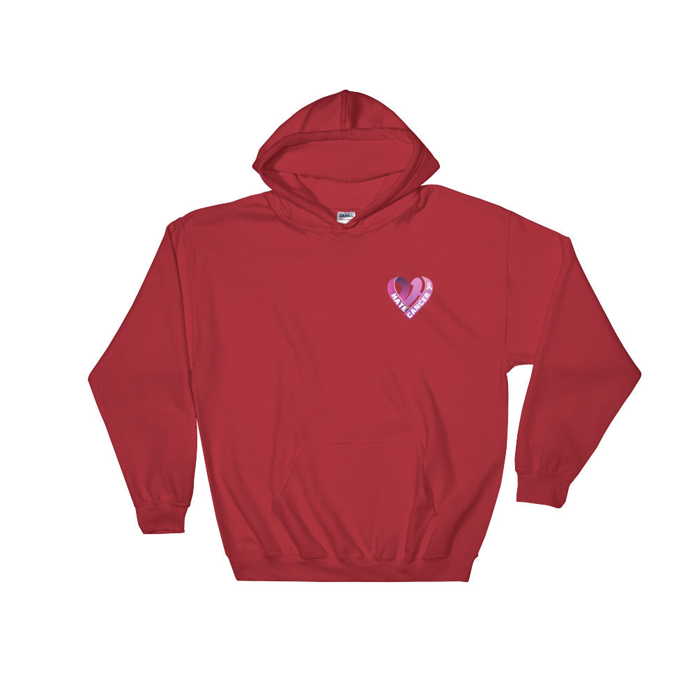 Positive Hate, Hate Cancer Pink Heart Side - Hooded Sweatshirt