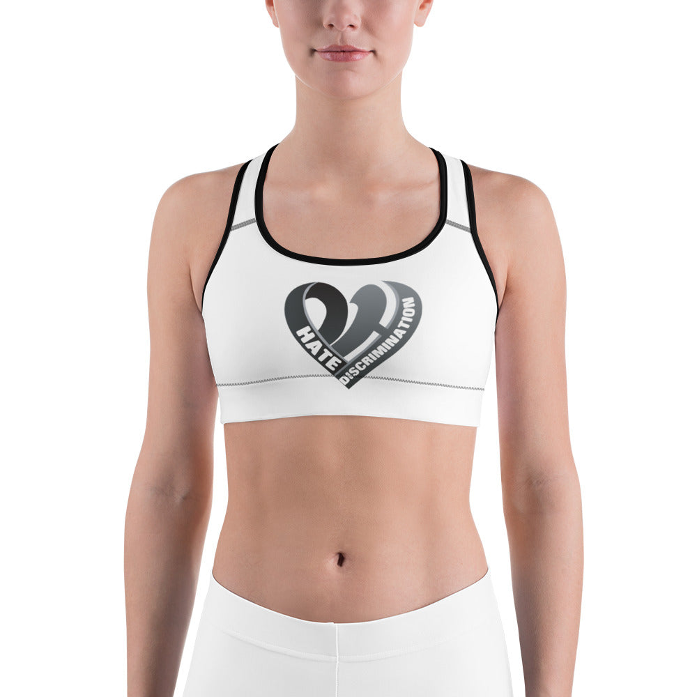 Positive Hate, Hate Discrimination Black Heart  - Sports Bra