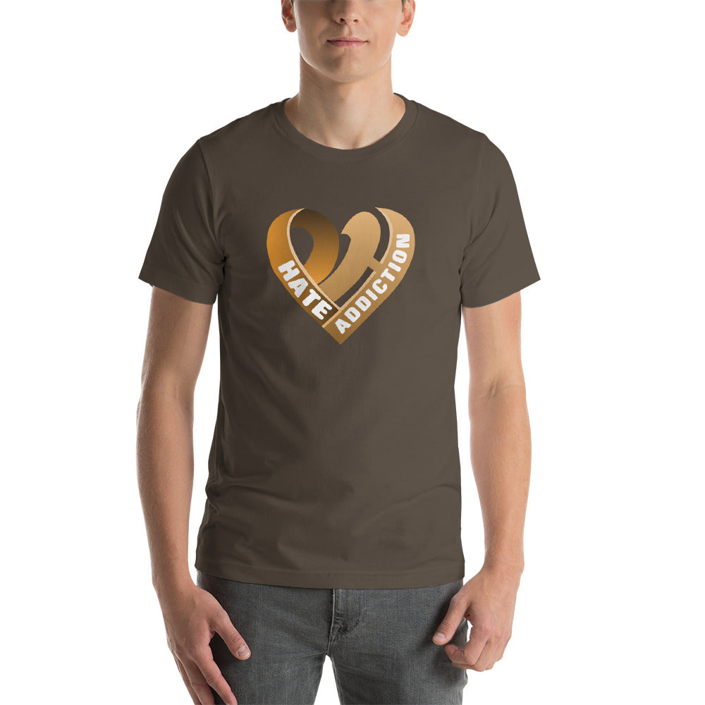 Positive Hate, Hate Addiction Orange Heart Middle - T-shirt