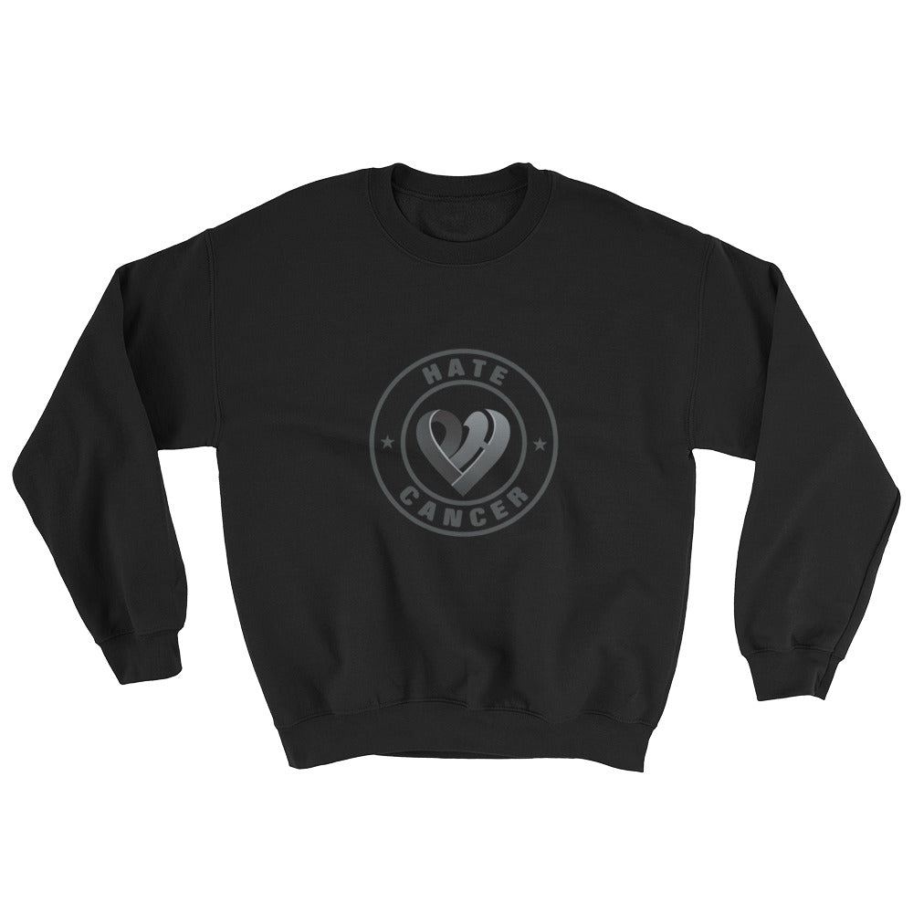 Positive Hate, Hate Cancer Black Round Middle - Unisex Sweatshirts