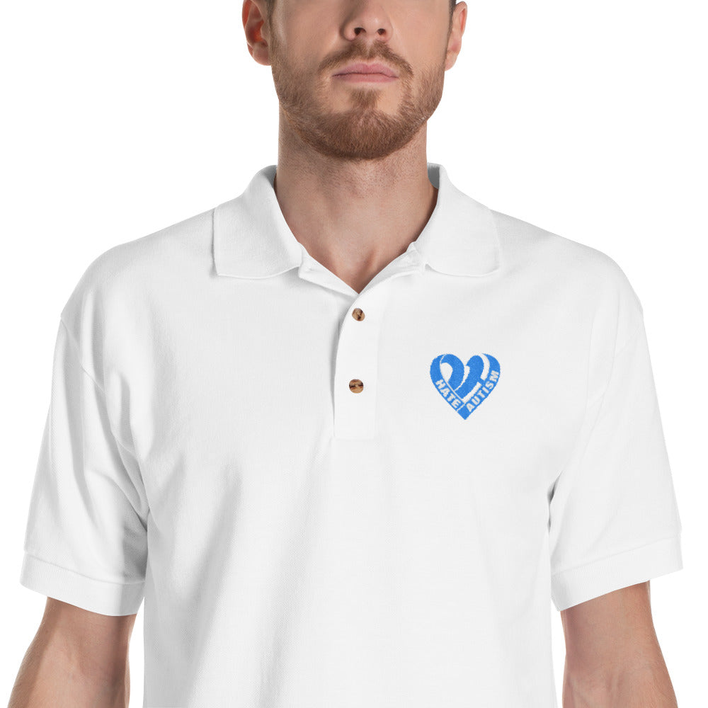 Positive Hate, Hate Autism Aqua Heart  - Polo Shirts