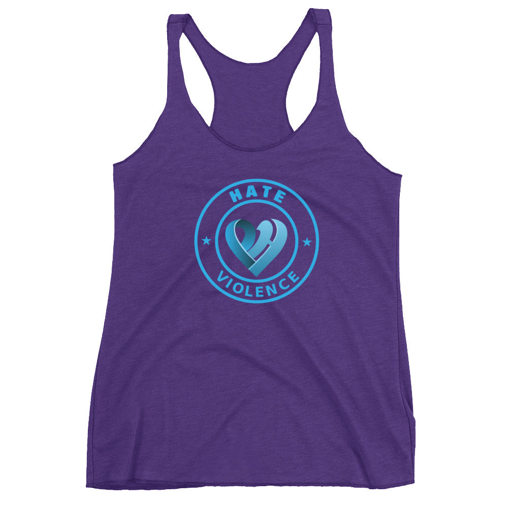 Positive Hate, Hate Violence Blue Round Center - Women's Racerback Tank