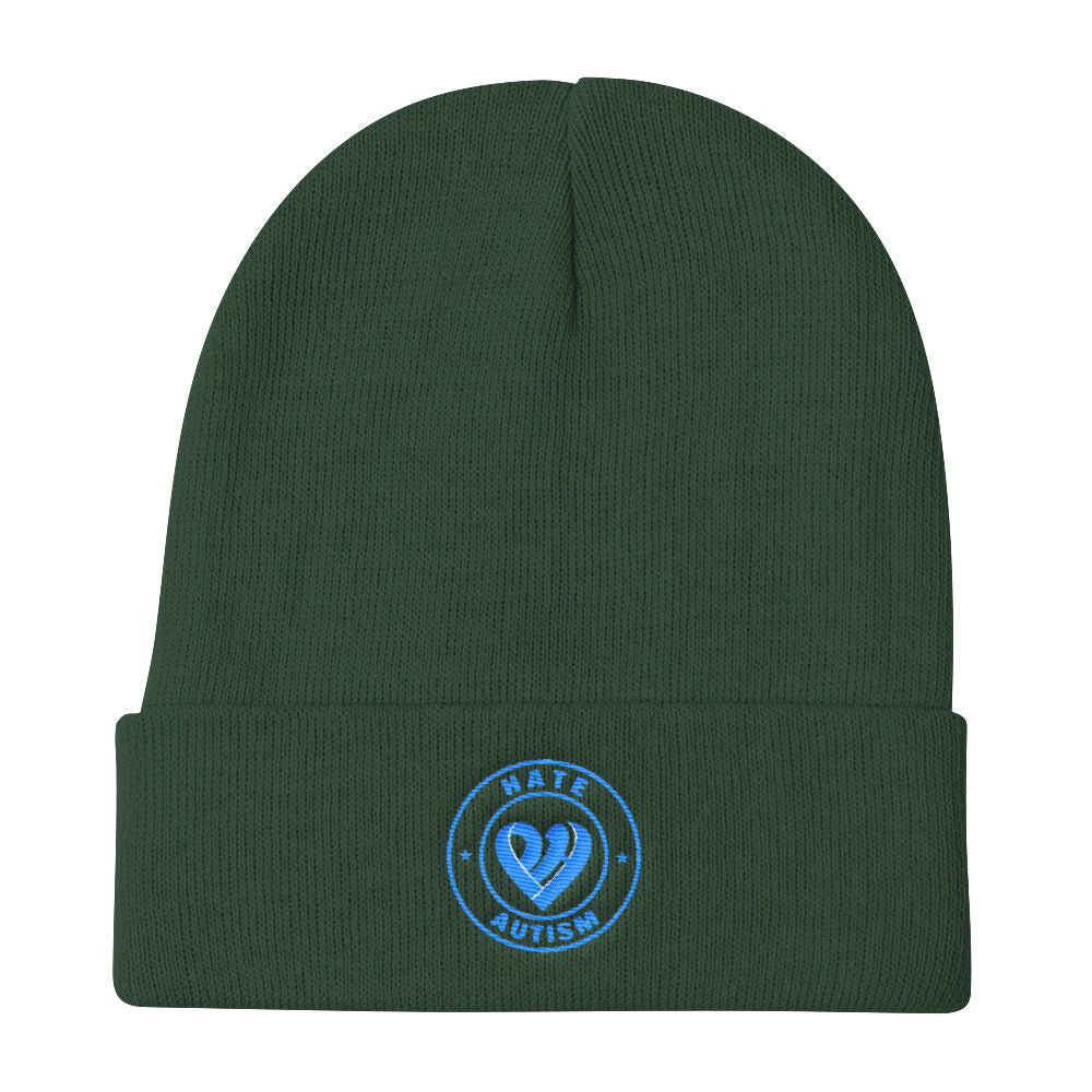 Positive Hate, Hate Autism Aqua Round Middle - Knit Beanie