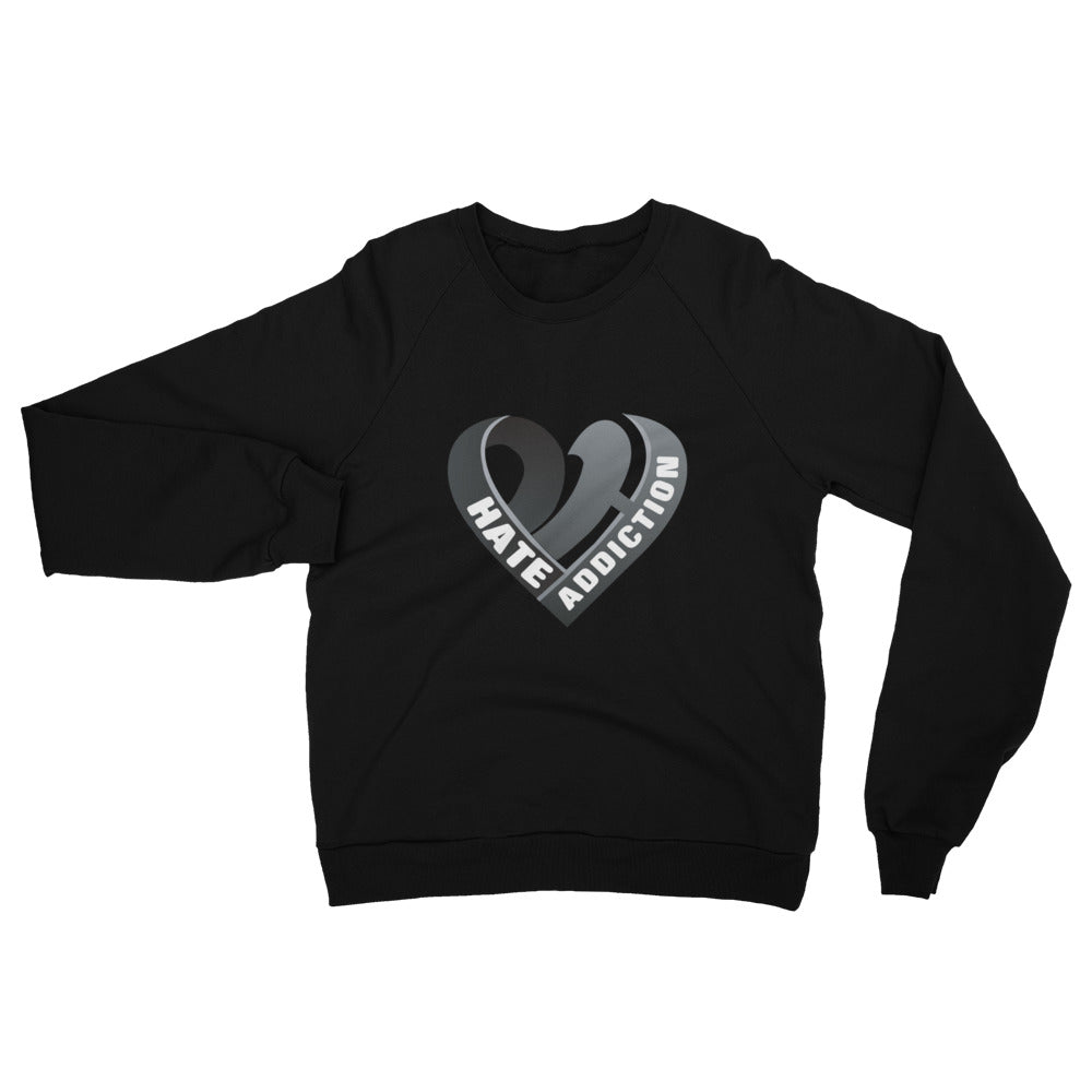 Positive Hate, Hate Addiction Black Heart Middle - Unisex California Fleece Raglan Sweatshirt