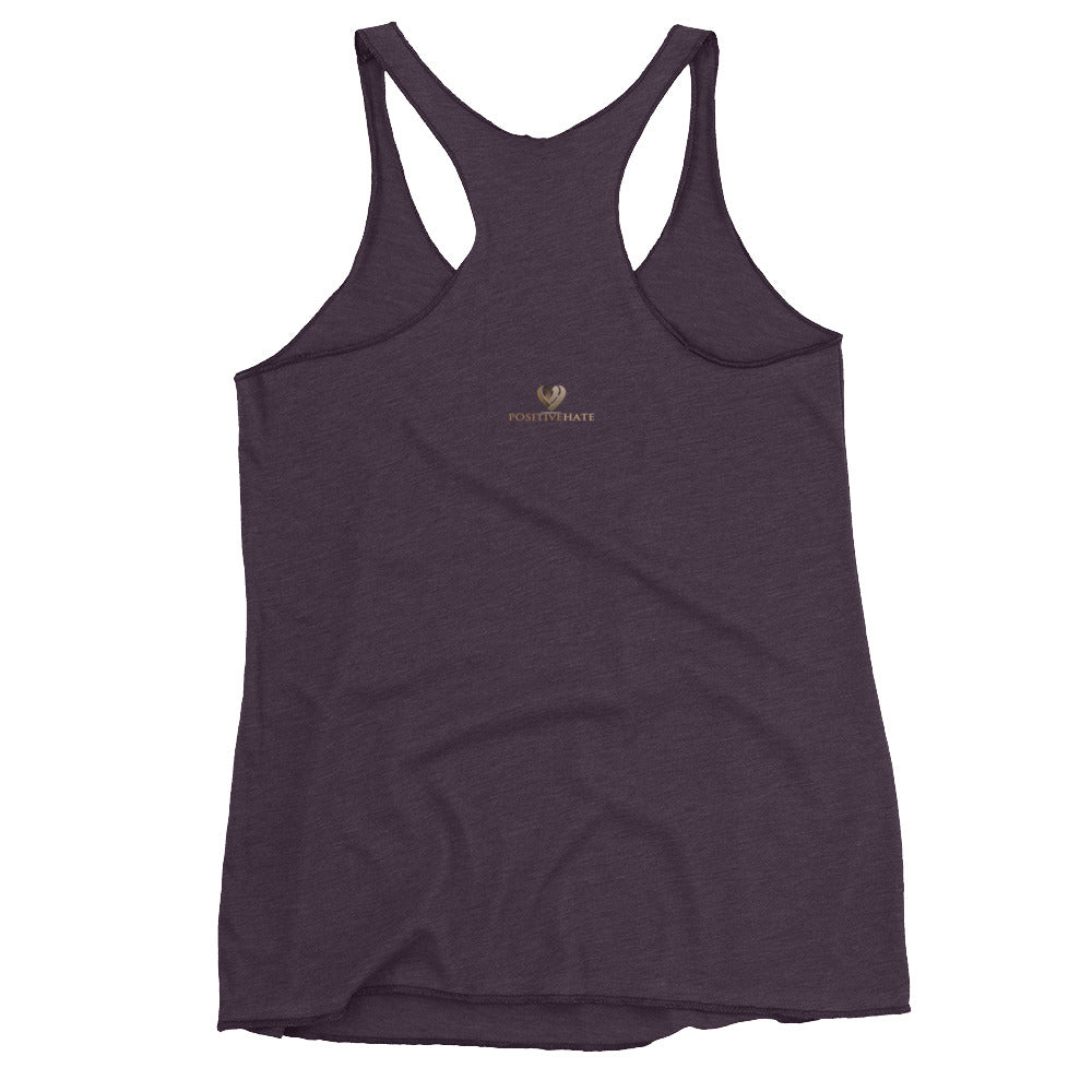 Positive Hate, Hate Addiction Brown Heart Center - Women's Racerback Tank