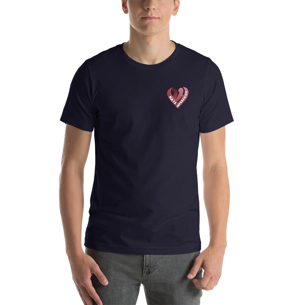 Positive Hate, Hate Infertility Red Heart Side - T-shirt
