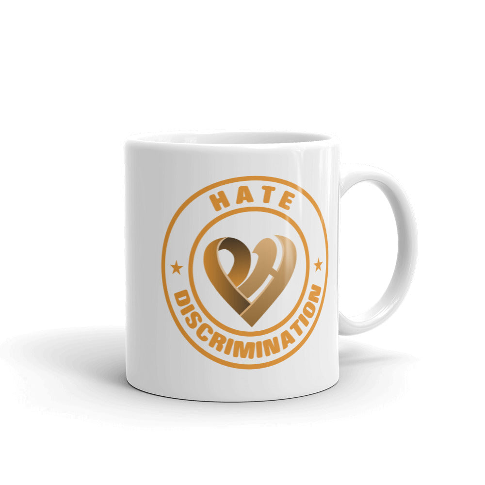 Positive Hate, Hate Discrimination Orange Round - Glossy Mugs