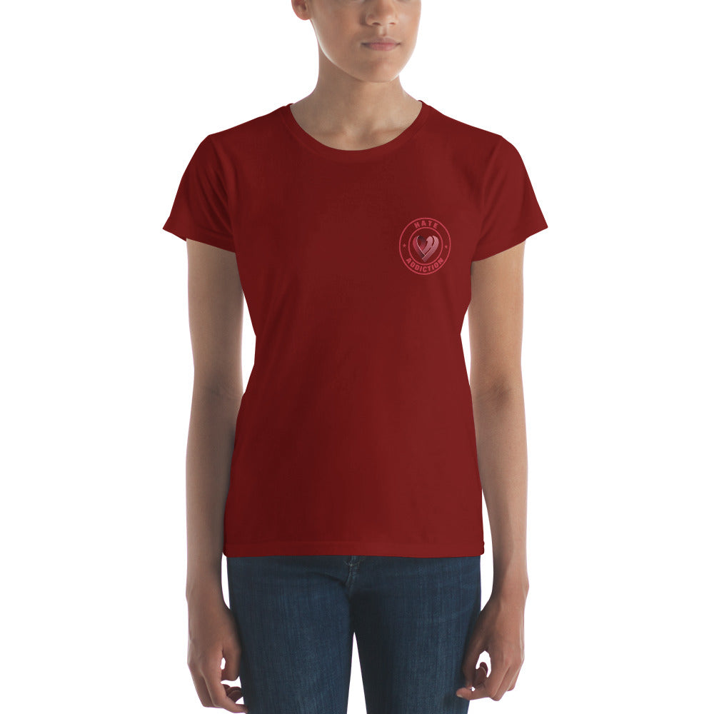 Positive Hate, Hate Addiction Red Round Side -  Women's short sleeve t-shirt
