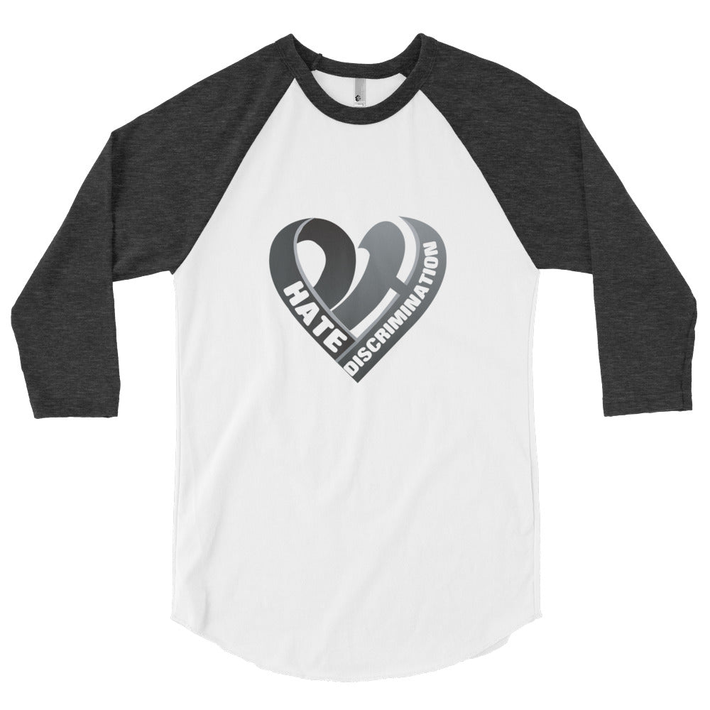 Positive Hate, Hate Discrimination Black Heart mid - Raglan Shirt