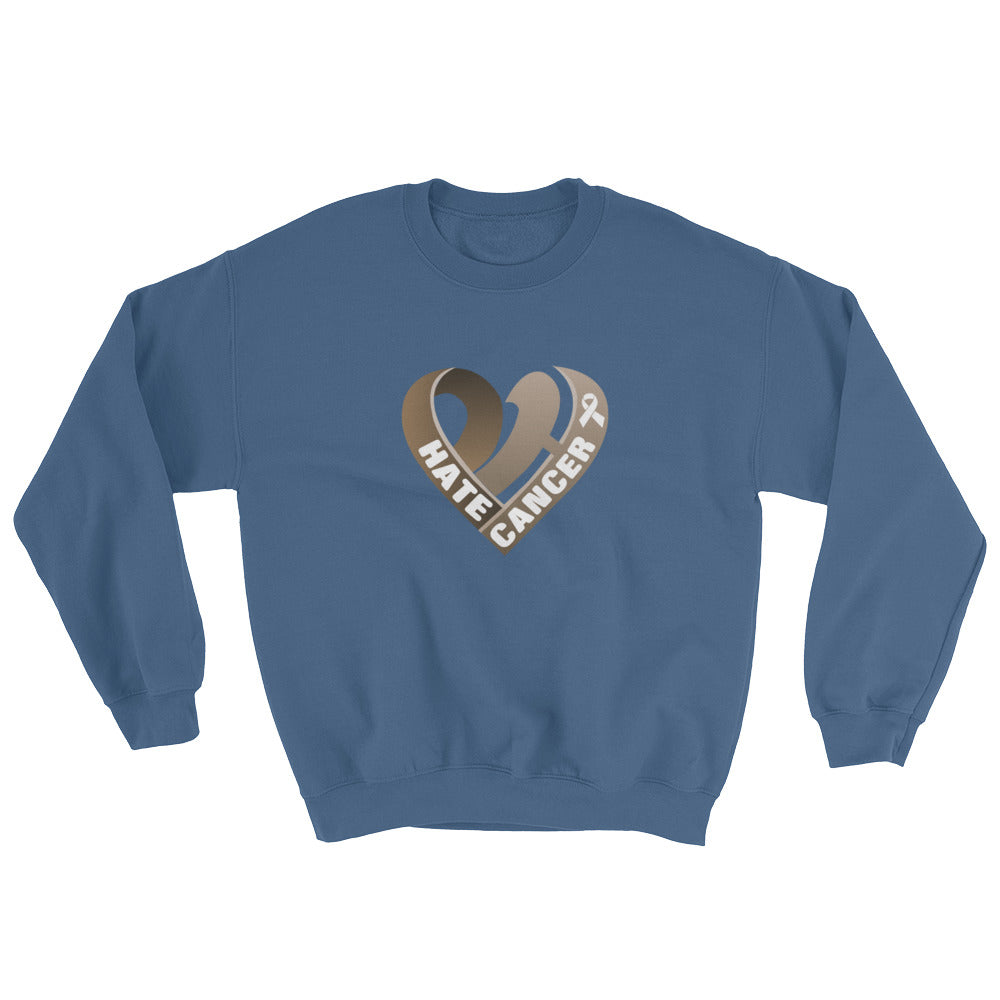 Positive Hate, Hate Cancer Brown Heart Middle - Unisex Sweatshirts