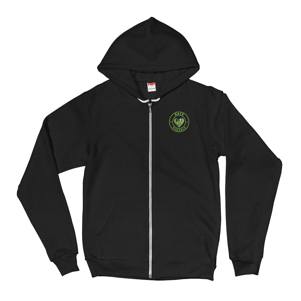 Positive Hate, Hate Violence Green Round Side - Full Zip Hoodie Sweater