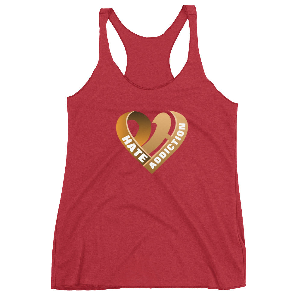 Positive Hate, Hate Addiction Orange Heart Center - Women's Racerback Tank