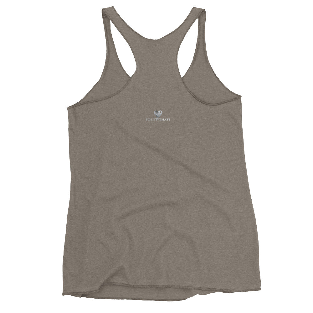 Positive Hate, Hate Bullying Gray Round Center - Women's Racerback Tank