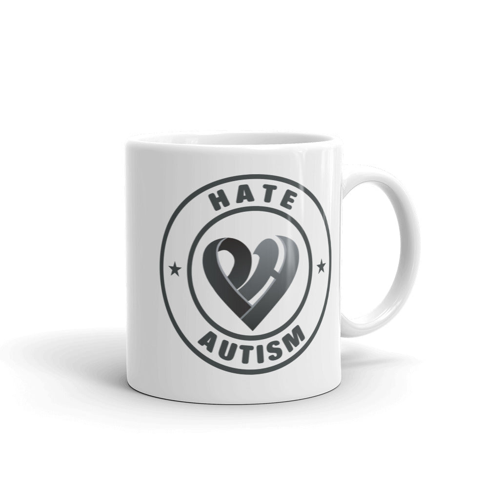Positive Hate, Hate Autism Black Round Side - Mugs