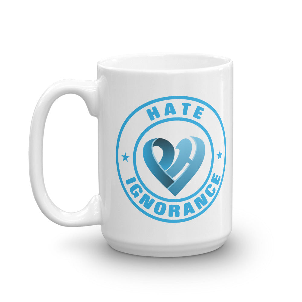 Positive Hate, Hate Ignorance Blue Round - Glossy Mugs