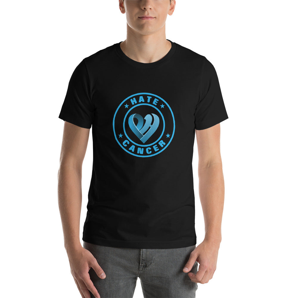 Positive Hate Cancer Blue Circle v2 Center - T-shirt