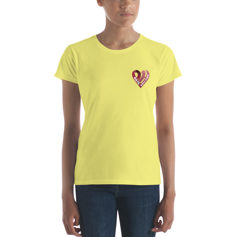 Positive Hate, Hate Bullying Red Heart Side -  Women's short sleeve t-shirt