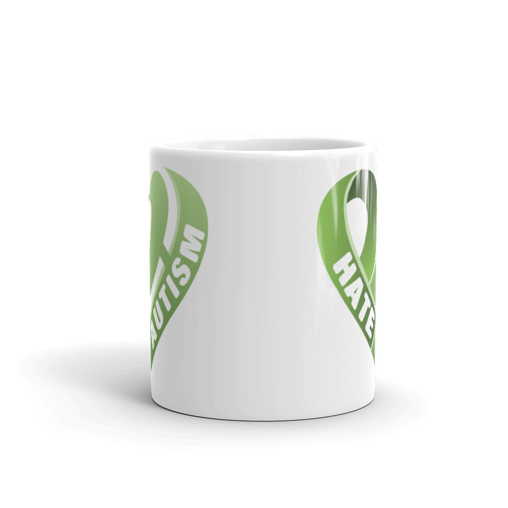 Positive Hate, Hate Autism Green Heart Side - Mugs