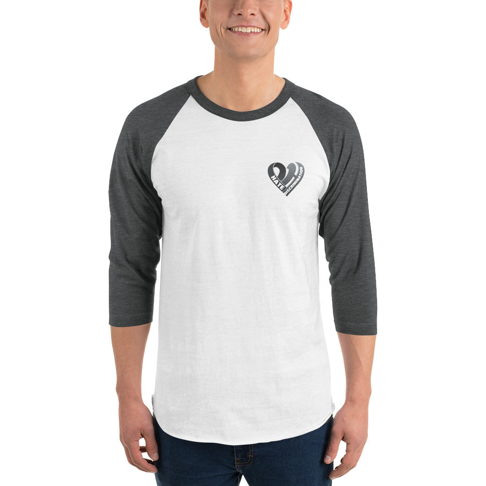 Positive Hate, Hate Discrimination Black Heart small - 3/4 Sleeve Raglan Shirt