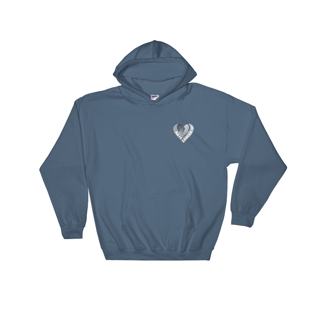 Positive Hate, Hate Cancer Gray Heart Side - Hooded Sweatshirt