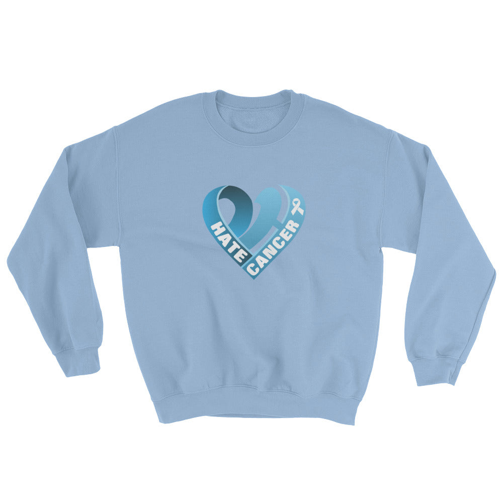 Positive Hate, Hate Cancer Blue Heart Middle - Unisex Sweatshirts