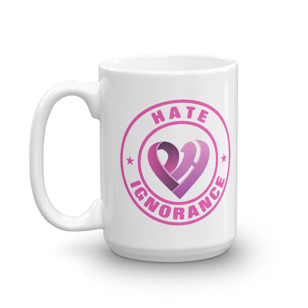 Positive Hate, Hate Ignorance Pink Round - Glossy Mugs
