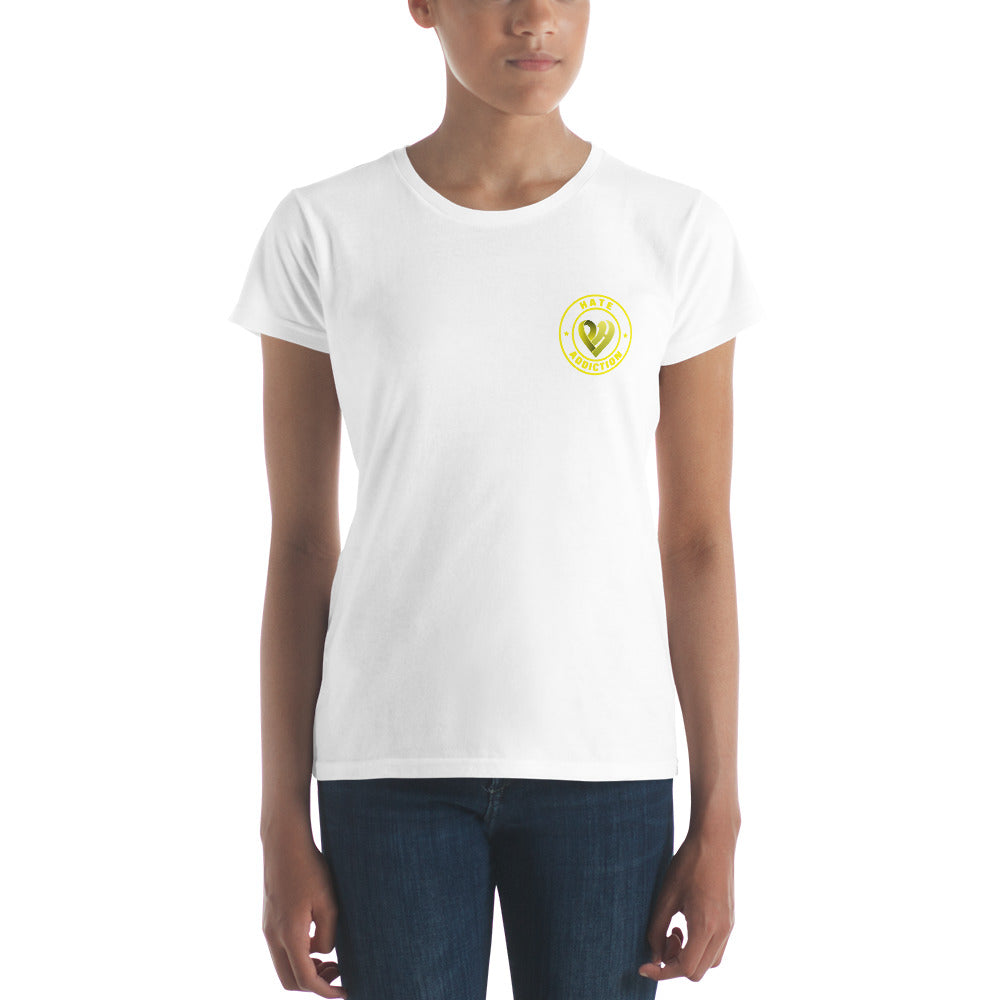 Positive Hate, Hate Addiction Yellow Round Side -  Women's short sleeve t-shirt