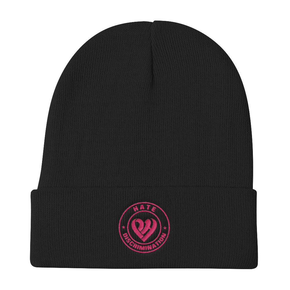 Positive Hate, Hate Discrimination Pink Round -  Beanie