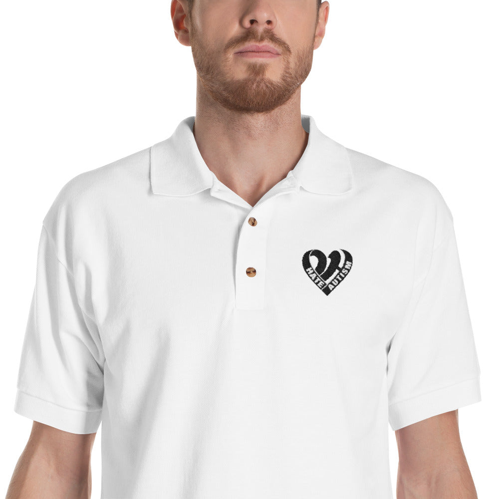 Positive Hate, Hate Autism Black Heart  - Polo Shirts