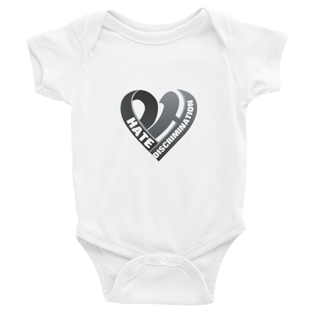 Positive Hate, Hate Discrimination Black Heart - Infant Onesies