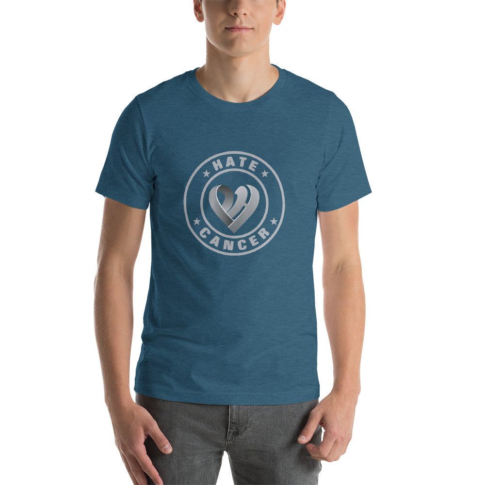 Positive Hate Cancer Gray Circle v2 Center - T-shirt