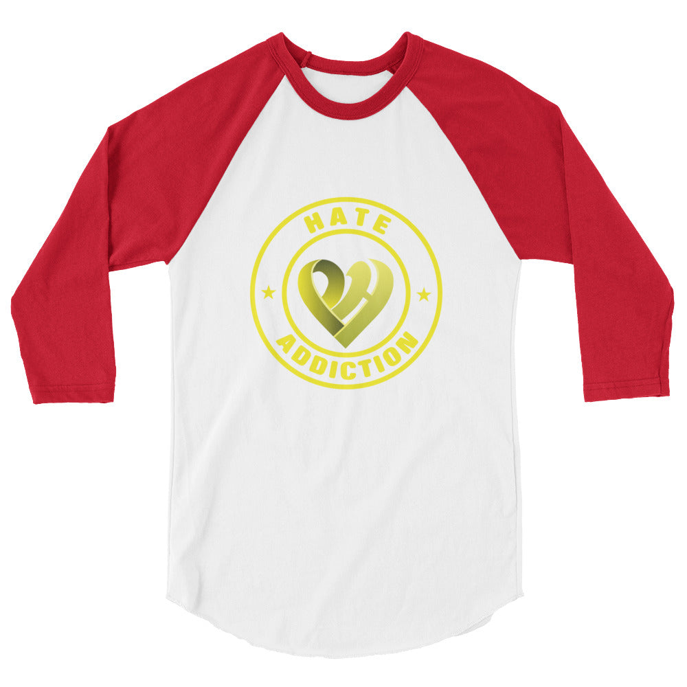 Positive Hate, Hate Addiction Yellow Round Middle - Raglan Shirts