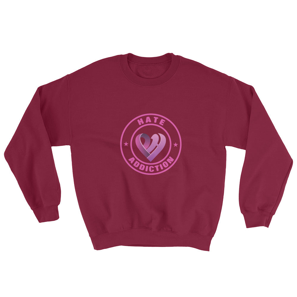 Positive Hate, Hate Addiction Pink Round Middle - Unisex Sweatshirts