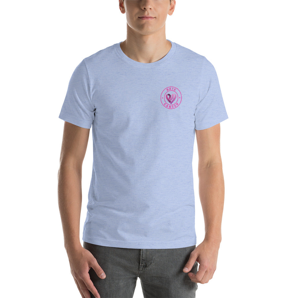 Positive Hate, Hate Cancer Pink Round Side - T-shirt