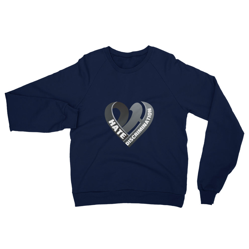 Positive Hate, Hate Discrimination Black Heart mid - Unisex California Fleece Raglan Sweatshirt