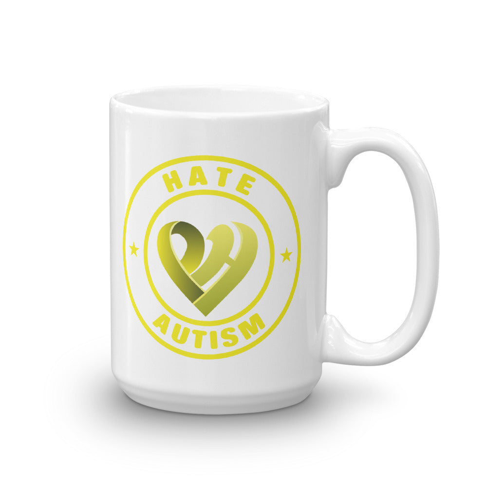 Positive Hate, Hate Autism Yellow Round Side - Mugs