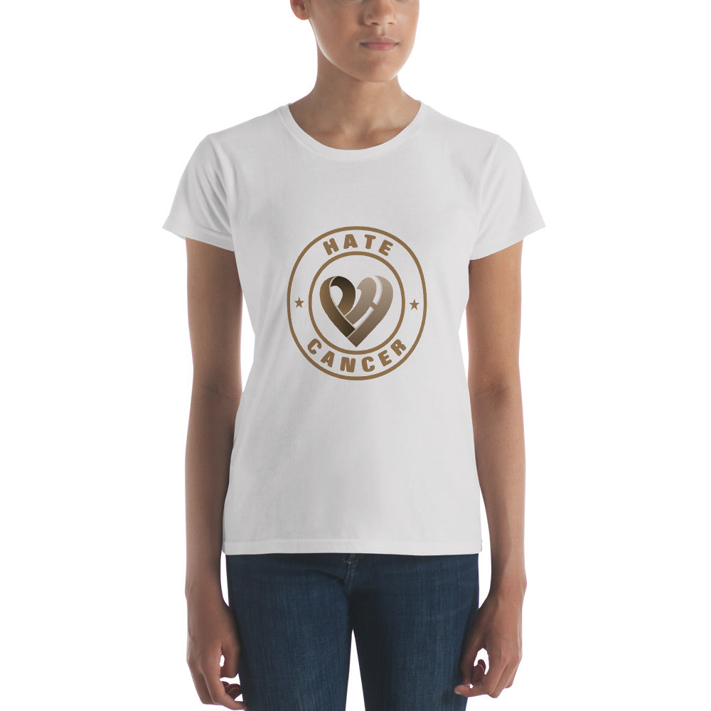 Positive Hate, Hate Cancer Brown Round Middle -  Women's short sleeve t-shirt