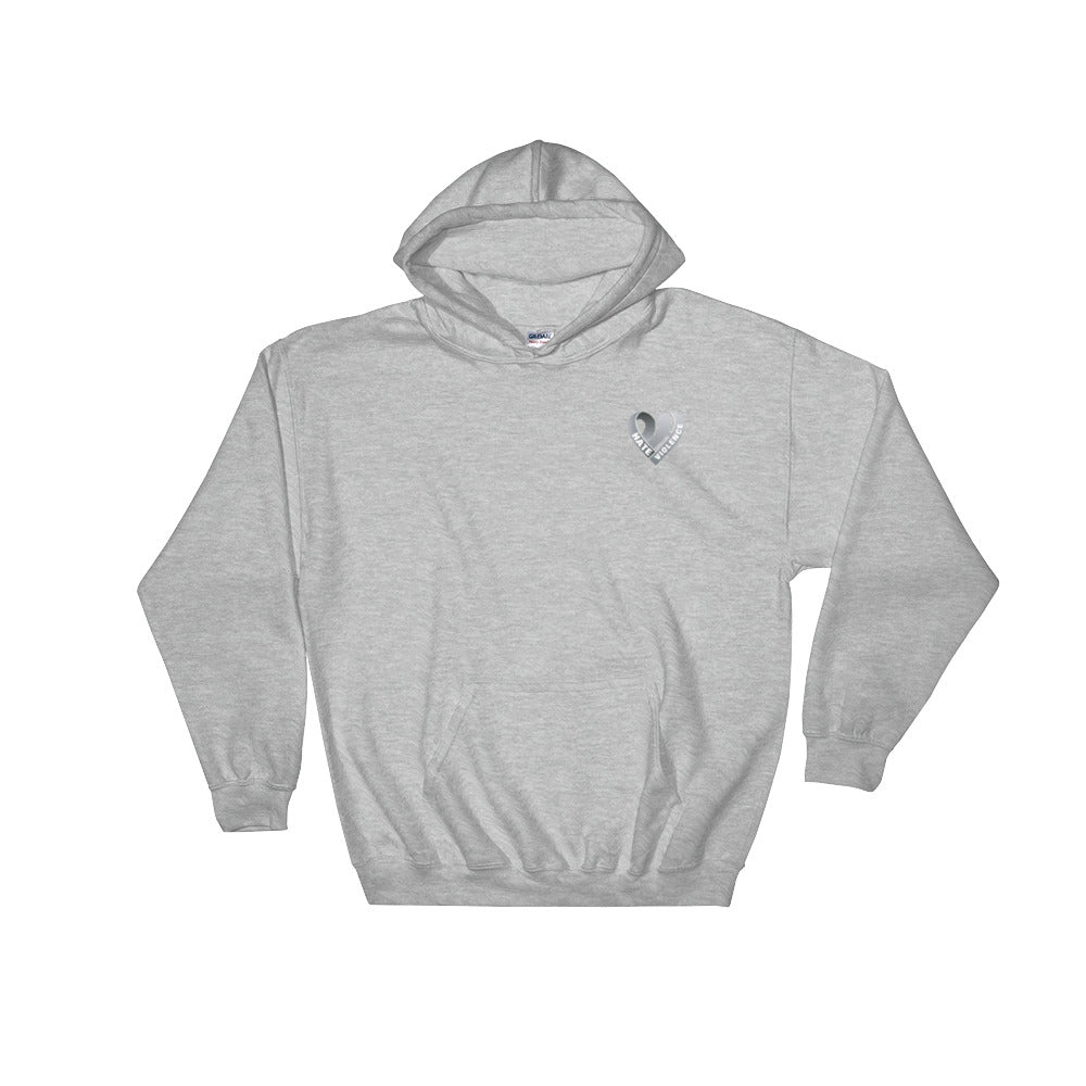 Positive Hate, Hate Violence Gray Heart Side - Hooded Sweatshirt