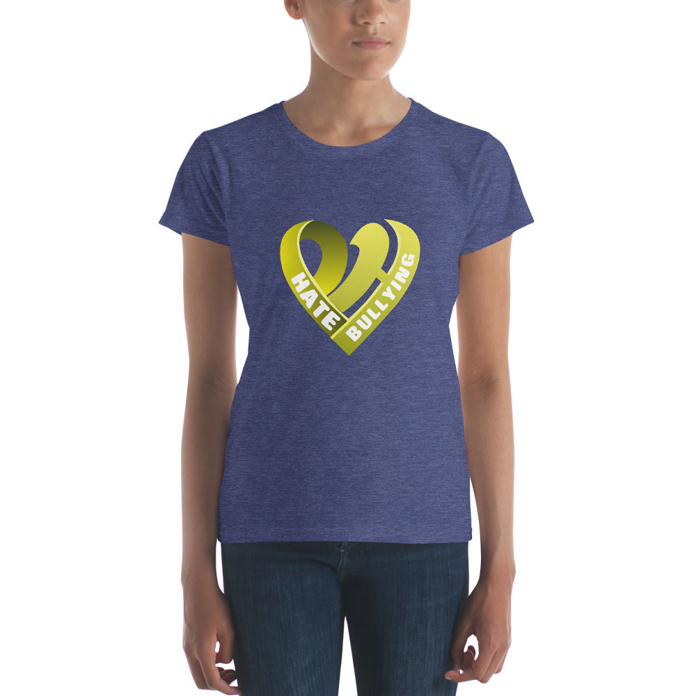 Positive Hate, Hate Bullying Yellow Heart Middle -  Women's short sleeve t-shirt
