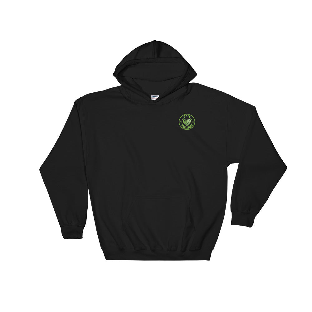 Positive Hate, Hate Addiction Green Round Side - Hooded Sweatshirt