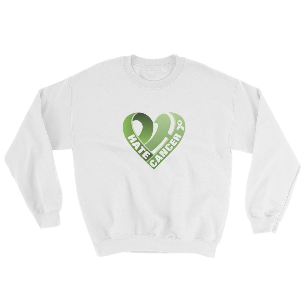 Positive Hate, Hate Cancer Green Heart Middle - Unisex Sweatshirts