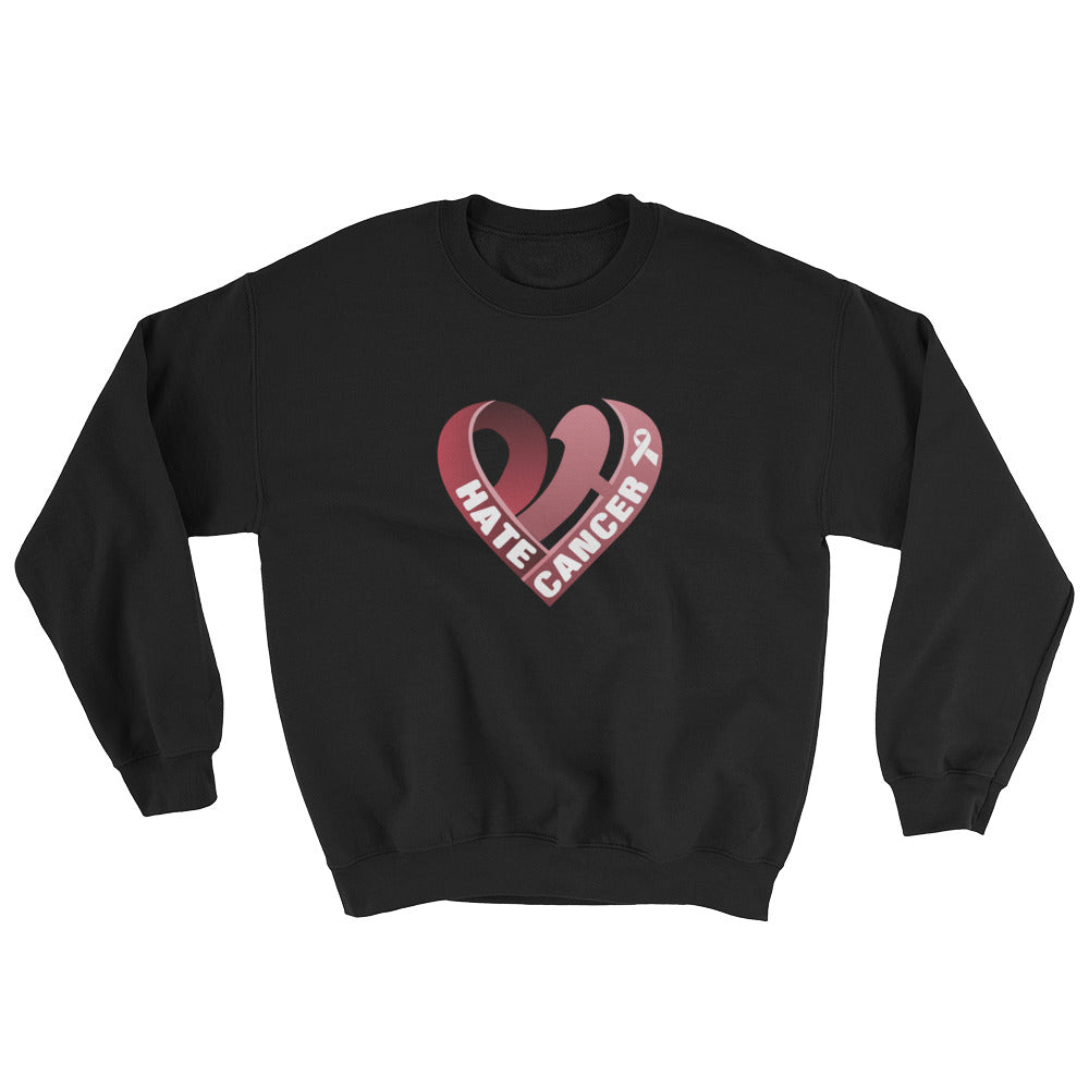Positive Hate, Hate Cancer Red Heart Middle - Unisex Sweatshirts