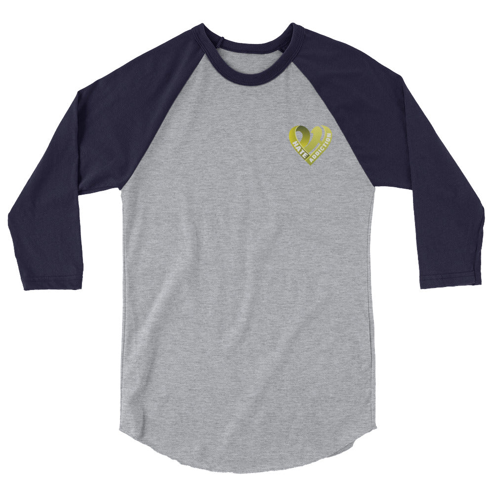 Positive Hate, Hate Addiction Yellow Heart Side - Raglan Shirts