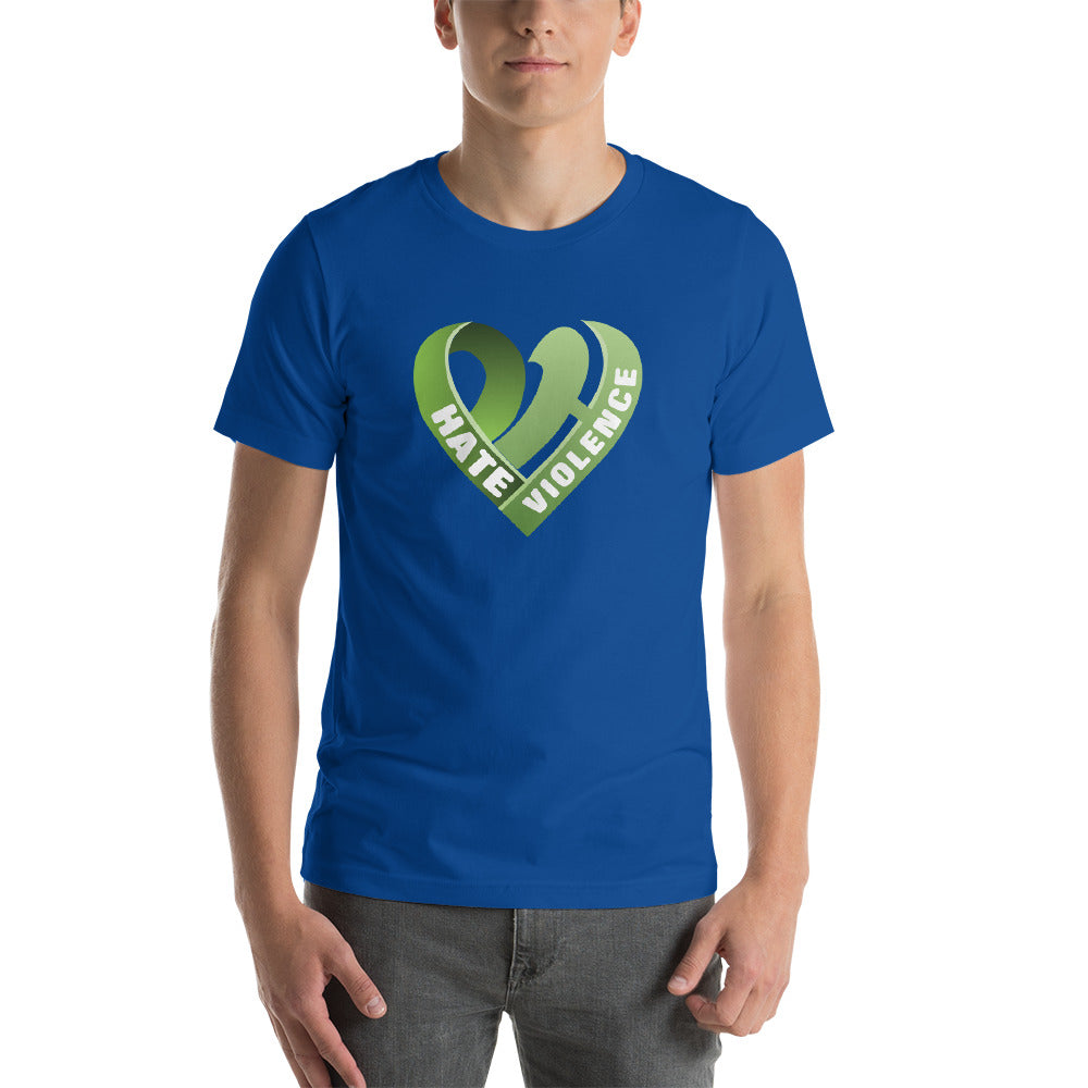 Positive Hate, Hate Violence Green Heart Middle - T-shirt