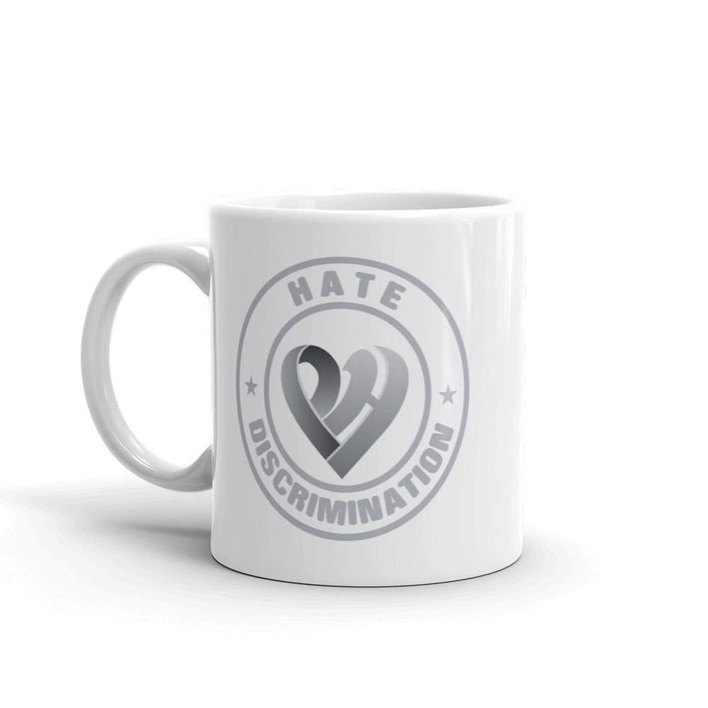Positive Hate, Hate Discrimination Grey Round - Glossy Mugs