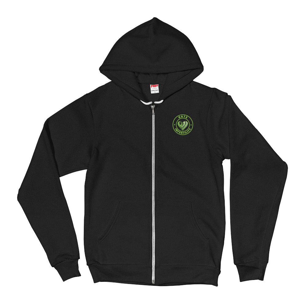 Positive Hate, Hate Infertility Green Round Side - Full Zip Hoodie Sweater