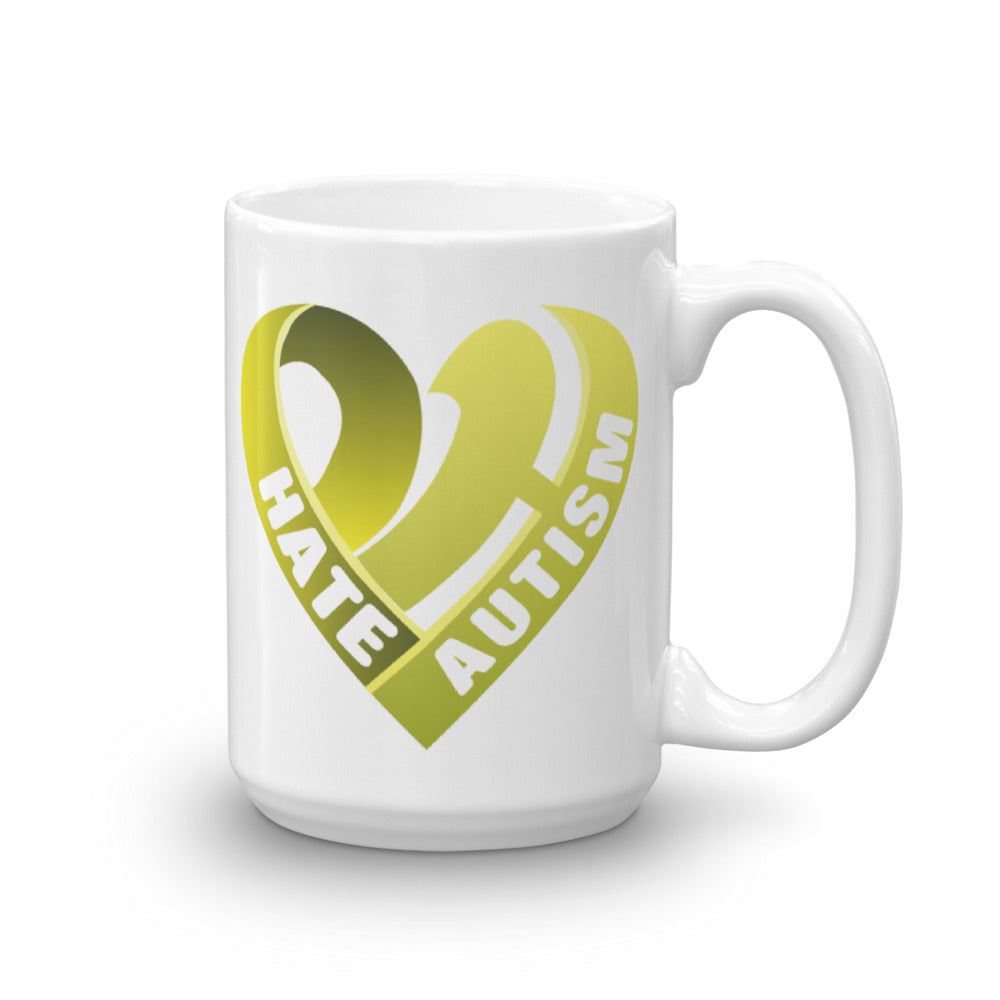 Positive Hate, Hate Autism Yellow Heart Side - Mugs